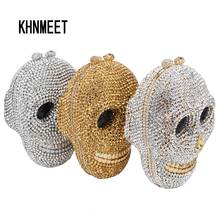Designer Skull Clutch Bags Women Evening Purse Wedding Bags Crystal Chain Gold Silver Day Clutches SC787