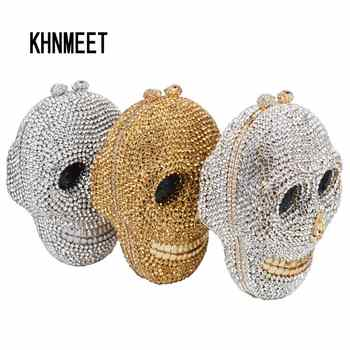 Designer Skull Clutch Bags Women Evening Purse Wedding Bags Crystal Chain Gold Silver Day Clutches SC787 - Category 🛒 Luggage & Bags