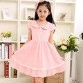 6-14Y Grande Niñas Vestidos de Verano 2017 de Corea Princesa Vestido De Los Niños Niñas Nuevo vestido infantil de Algodón de Manga Corta de Color Rosa