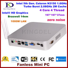 DHL Бесплатная Доставка Kingdel Intel Celeron N3150 Quad Core Turbo Boost 2.08 ГГц Мини-ПК, Настольный Компьютер, HTPC, COM, HDMI, VGA