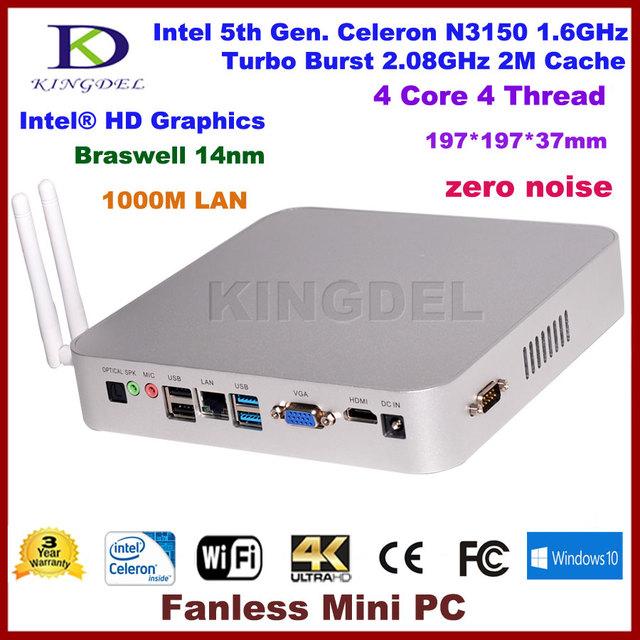 Dhl frete grátis kingdel intel celeron n3150 quad core turbo boost 2.08 ghz mini pc, micro desktop do computador, htpc, com, hdmi, vga