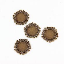Fit 14mm Putaran Bunga Antique Bronze Liontin Pengaturan Cabochon Cameo Basis Tray Bezel Kosong Temuan Perhiasan DIY(China)
