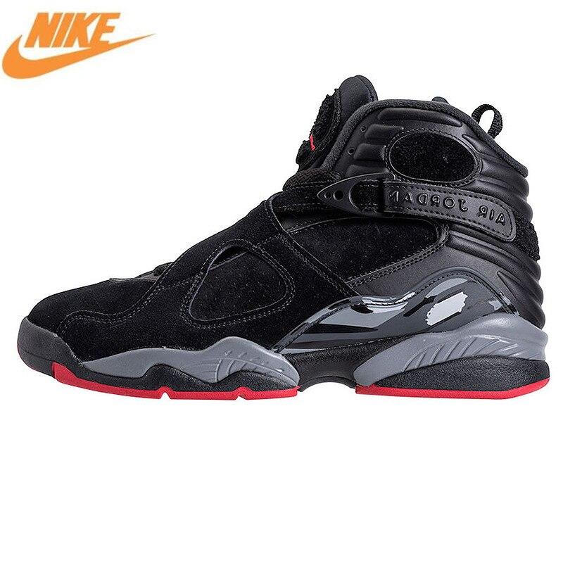 NIKE Air Jordan 8 Cement Black Men's Basketball Shoes Sneakers, Original Outdoor Sport Comfort Shoes 305381 022