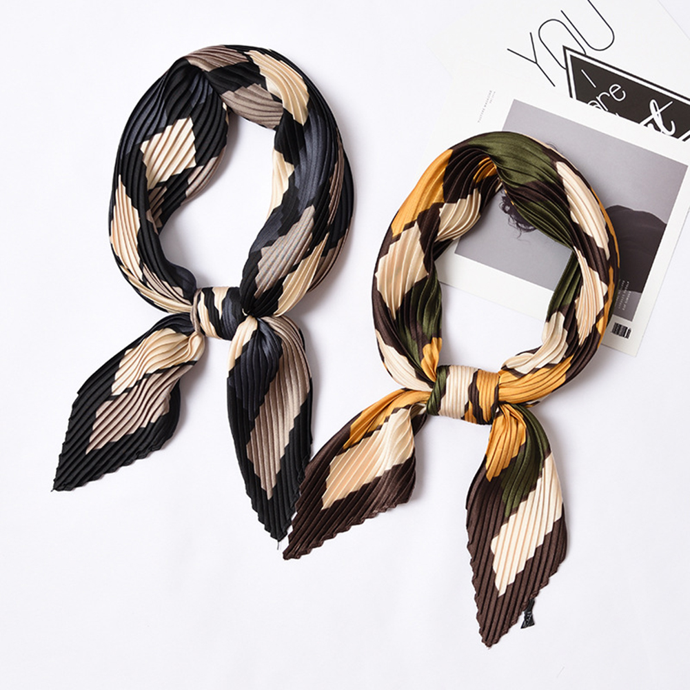 Luxury Brand Small Square Satin Scarf Pleated Silk Scarf Foulard Femme Elegant Women's Wrap Handkerchief Bandanas Accessories