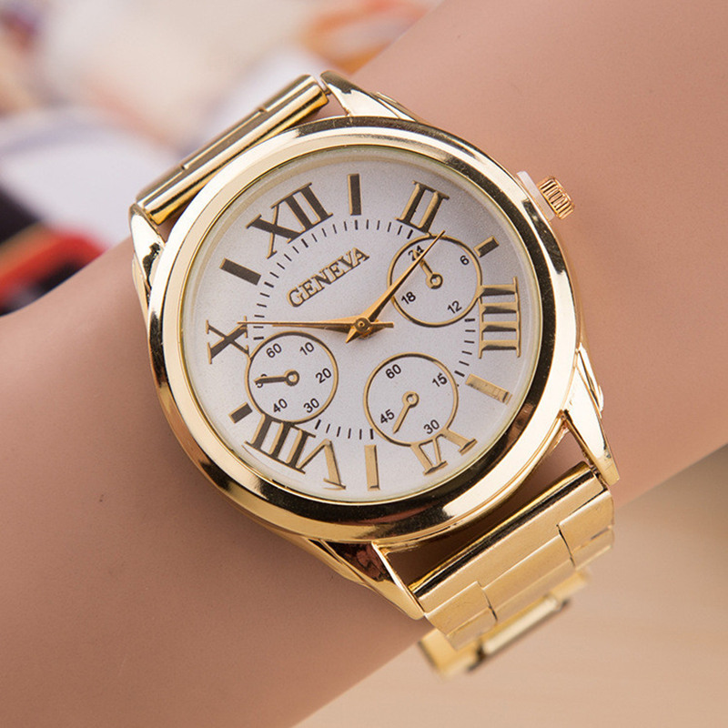 2017 New Brand 3 Eyes Ladies Clock Hot Sale Gold Geneva Casual Quartz Watch Women Stainless Steel Dress Watches Relogio Feminino купить недорого в Москве