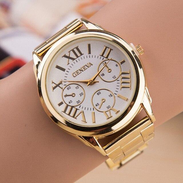 d27ab528d84 2017 Nova Marca 3 Olhos Senhoras Relógio Quente da Venda de Ouro genebra  Aço Inoxidável Relógio