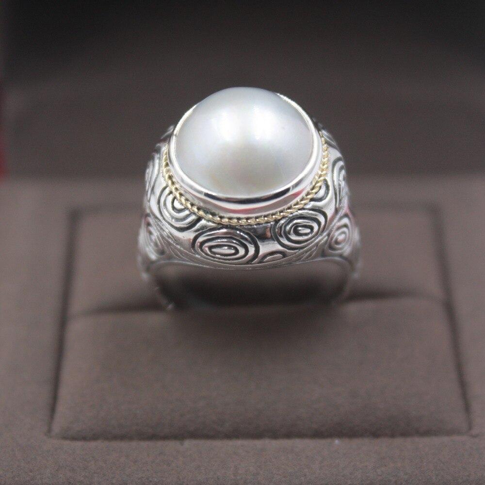 Bague en argent Sterling pur S925 pour femmes fête élégante mère de perle sculpté motif rond brillant dentelle anneau taille US 5-9