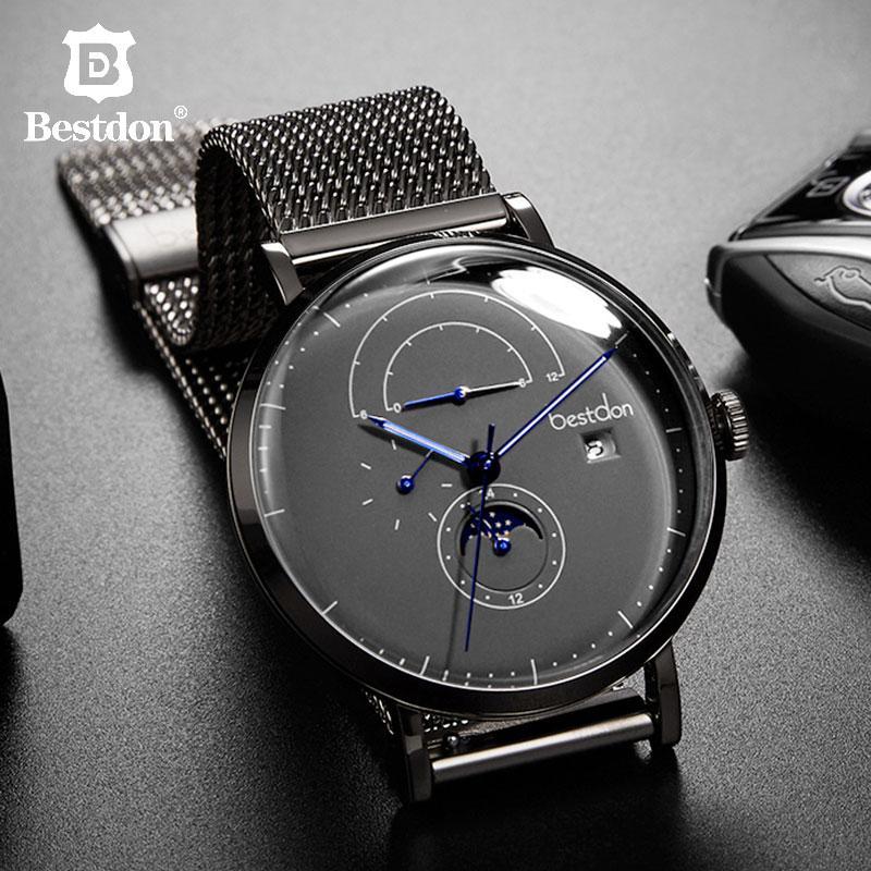 Bestdon 자동 남성용 시계 42mm 대형 다이얼 비즈니스 기계식 손목 시계 방수 moonphase 남성용 고급 선물-에서기계식 시계부터 시계 의  그룹 1