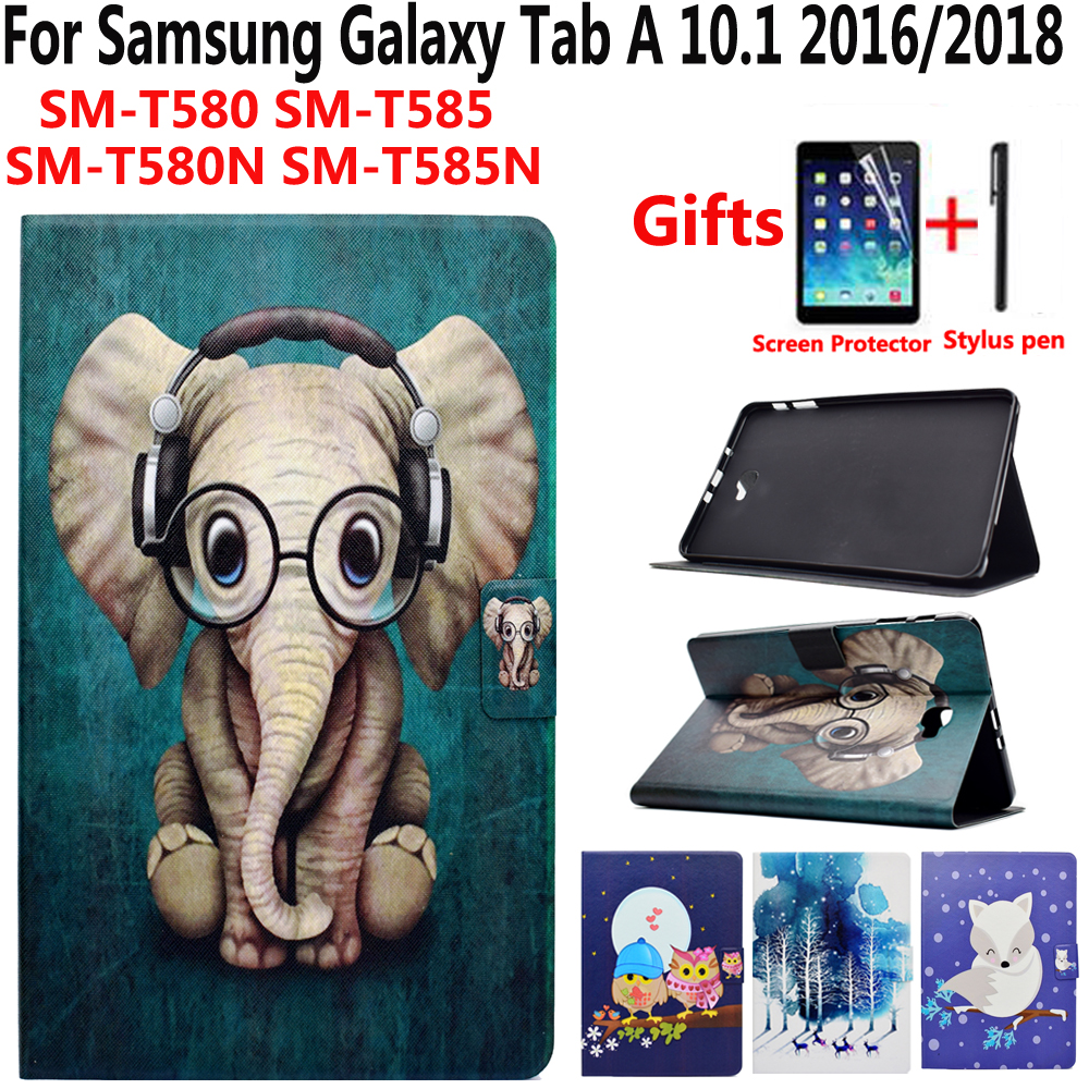 Animal Cartoon Case for Samsung Galaxy Tab A 10.1 2016 SM-T580 SM-T585 T580 T585 T585N Smart Cover With Screen Protector Film