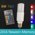 LED RGB lamp E27 6w with Memory Lampada LED Dimmable 110v 220v Magic Holiday lighting+Remote Control 16 color led Bulb Light RGB