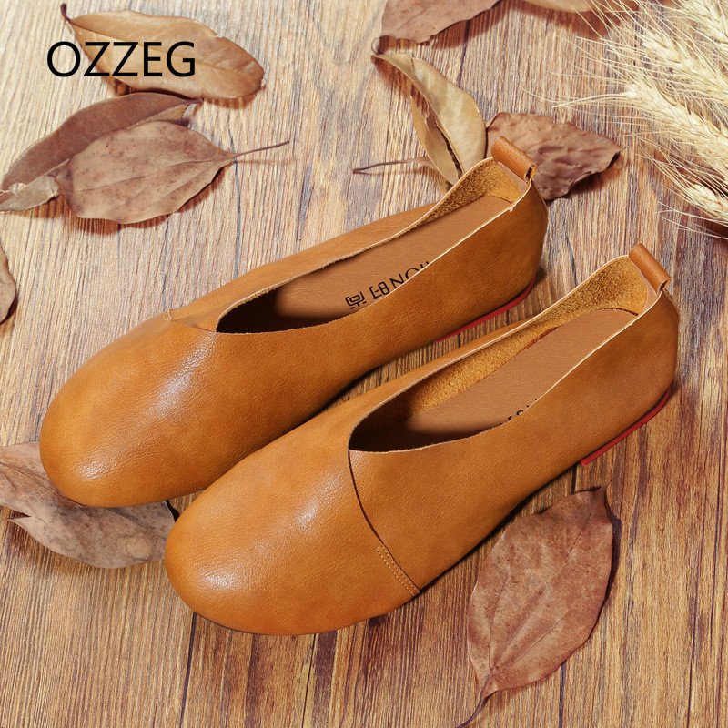 Flat Shoes Woman Leather Loafers Soft Spring Casual Shoes Ladies Flats Comfort Slip on Vintage Women Shoes Plus Size 43 wdzkn flower print women casual shoes slip on flats hollow out soft split leather women loafers big size ladies shoes 35 42