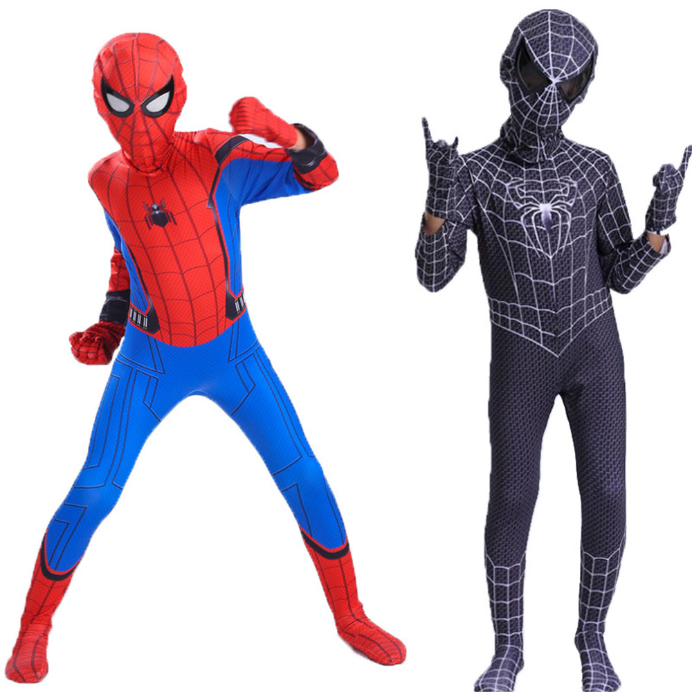 Red Black Spiderman Costume Venom Spider Man Zentai Suit Spider-man Costumes Adults Superhero Halloween Costume For Kids