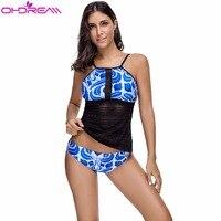 OHDREAM 2018 New Mesh Swimsuit Women Slimming Swimwear Briefs Tankini Bathing Suit Beach Wear Blue Sexy Floral Print Summer D