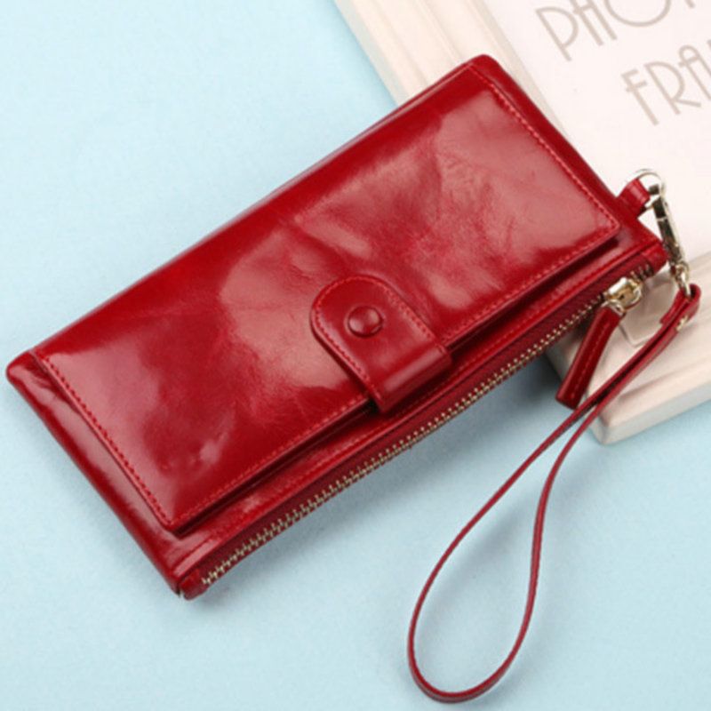 Unisex 2017 NEW Women Wallets Genuine Leather Vintage Money Clutch Wallet Female Long Credit Card Holder Zipper Coin Purse Phone