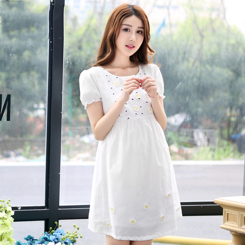 Summer Cotton Formal Maternity Dresses Pregnant Women Clothes For