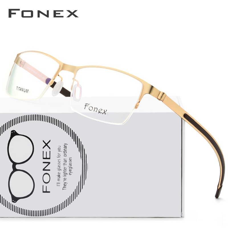 Fonex liga de titânio óculos quadro homem ultraleve quadrado miopia prescrição óculos coreano screwless óptica 981
