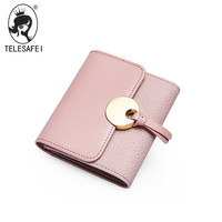 The New Summer Folding Bag S Casual Simplicity Simple Pure Lovely Leather Wallet Card Package Cross