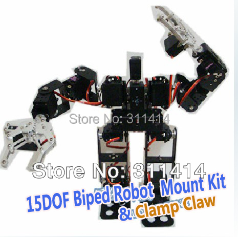 1set 15DOF Biped Robotic Educational Robot Mount Kit 2pcs Metal Clamp Claw Include Servo Horns For