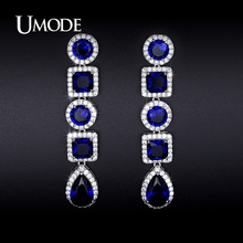 UMODE Crystal Dangle Earrings For Women Rhodium plated Blue CZ Brincos Para As Mulheres Christmas Gifts Bijoux Femme AUE0251B