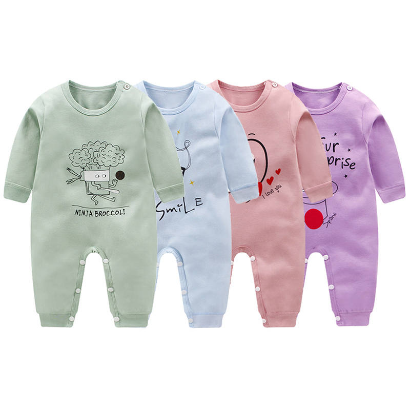 Spring Autumn Newborn Baby Boys Girls Clothes Long Sleeve Baby Rompers Soft Infant Toddler Baby Boy Girl Cartoon Print Jumpsuit