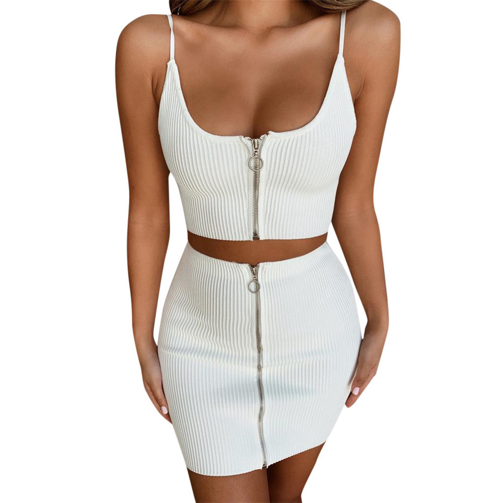 JAYCOSIN Women Clothes Set Sexy Two Piece Set Sling Off Shoulder Top And Half Body Mini Skirt Boho Summer Casual White Outfits
