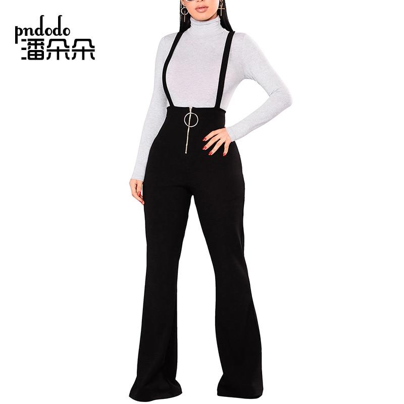 Pndodo   Wide     Leg   High Waist Women   Pants   Straps Casual Elegant Flare   Pants   New Spring Autumn Front Zipper Suspenders Long Trouser