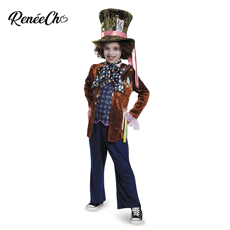 Halloween Costume For Kids Child Mad Hatter Deluxe Costume Alice In Wonderland Cosplay Boy Costume For Party Girl Movie Cosplay