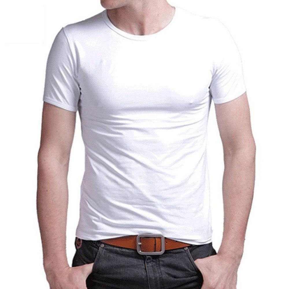 0395f033 t shirt men 2019 leisure summer O-neck short sleeved cotton stretch Lycra  tight tees
