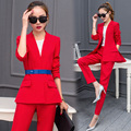 2 Piece Set Pant Suits Women 2017 Spring Casual Office Business Suits Formal Work Wear Sets Uniform Styles Elegant Pant Suits