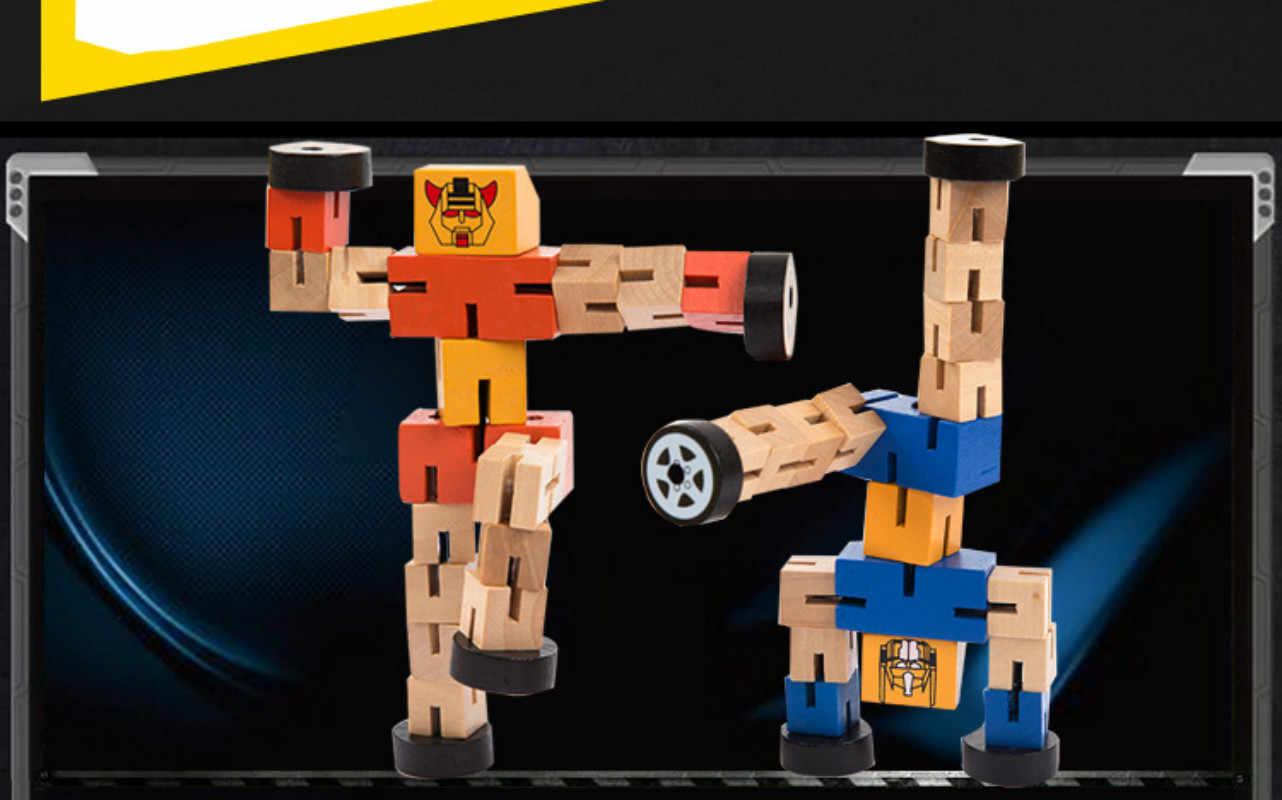 Обучающий Интеллектуальный подарок на день рождения игрушки для детей деревянные трансформации Робот строительные кубики, детские игрушки для детей
