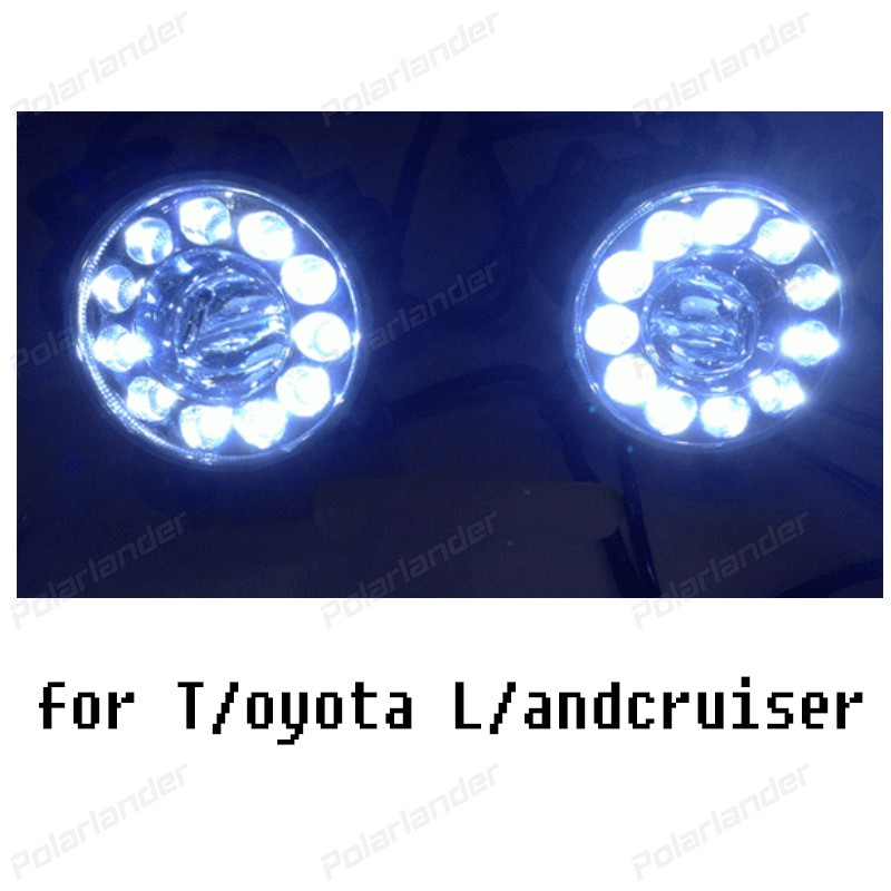 2 pcs LED car-styling DRL Daytime Running Light Fog Lamp for T/oyota L/andcruiser F/J200 LC200 2012 -2015 Not with fog cover