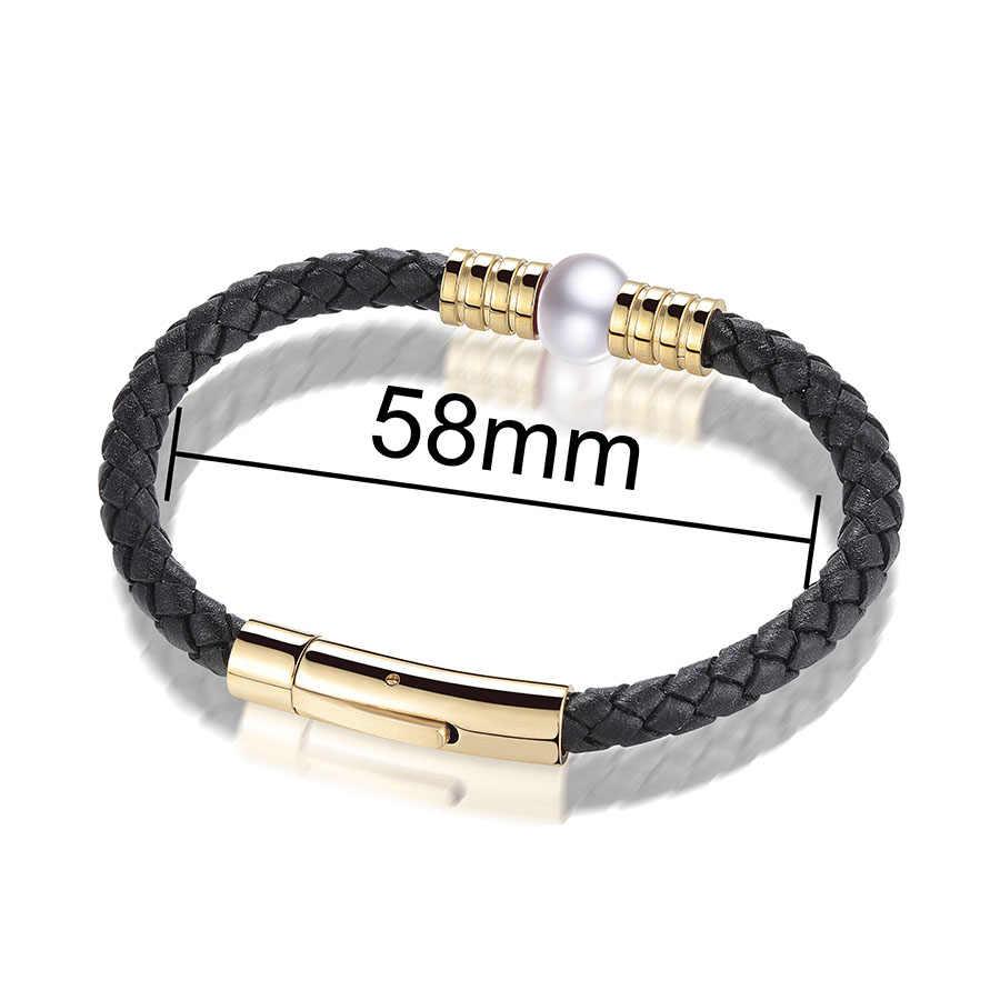 VEAMOR Womens Mens Bracelet Màu Đen Ngọc Trai Sợi Dây Thừng Handmade Da Friendship Wristband Charm Surfer Bất Trân Bracelet