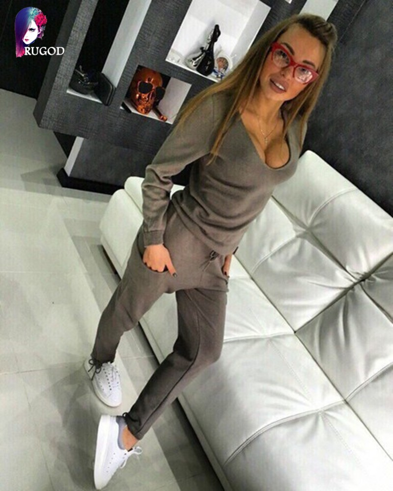 17 Hot 2 Pieces Set Women V-Neck Sexy Knitted two pieces sets Spring Suits Tracksuit Sweater top+ Pants Set Womens Casual Suit 10