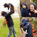 Otoño Invierno 2016 Niños de Los Cabritos Muchachos de Los Bebés de Dinosaurio Dino Traje de Chaqueta Con Capucha Escudo Abrigos