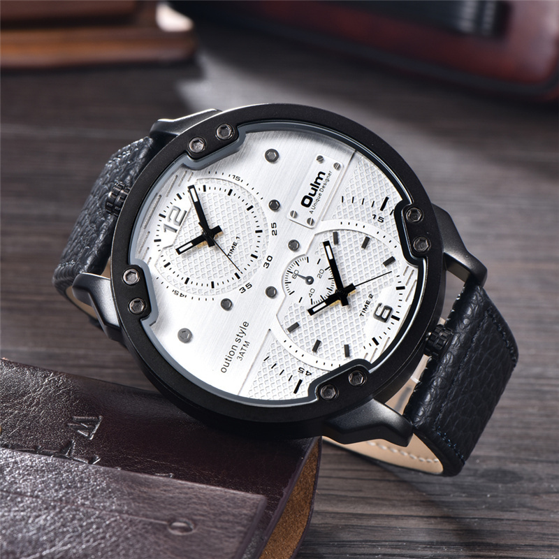 Topdudes.com - Top Men's New Casual Style Big Dial Leather Strap Quartz Military Double Time Zone Wristwatch