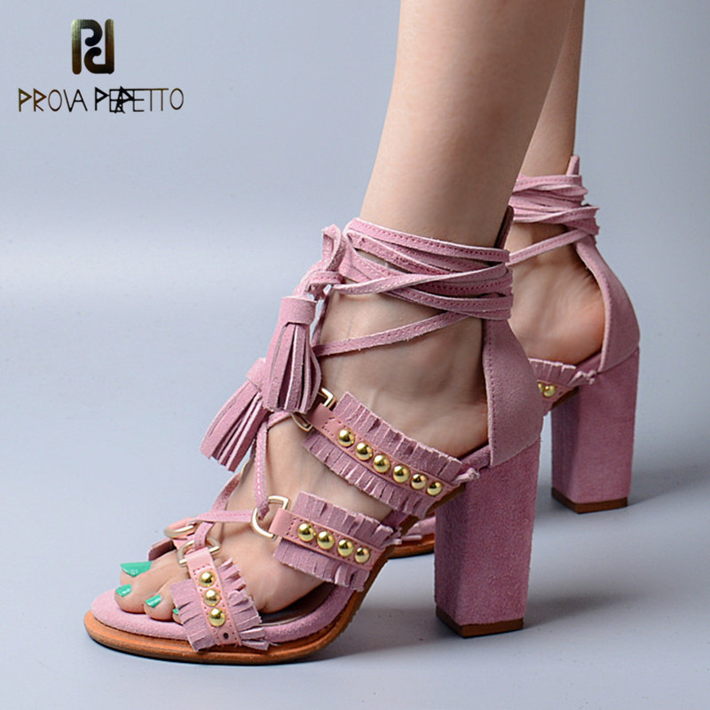 Prova Perfetto Original Brand Summer New Design Comfortable All-match Sandals High Heel Tassels Rivet Lace up Woman Sandals prova perfetto 2018 summer new style comfort woman sandals all match real leather thick heel butterfly knot fashion sandals