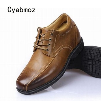 Cyabmoz Men Height Increasing Shoes Invisibly 9cm Genuine Leather Elevator Lace up Sewing Man Casual Shoes zapatillas hombre