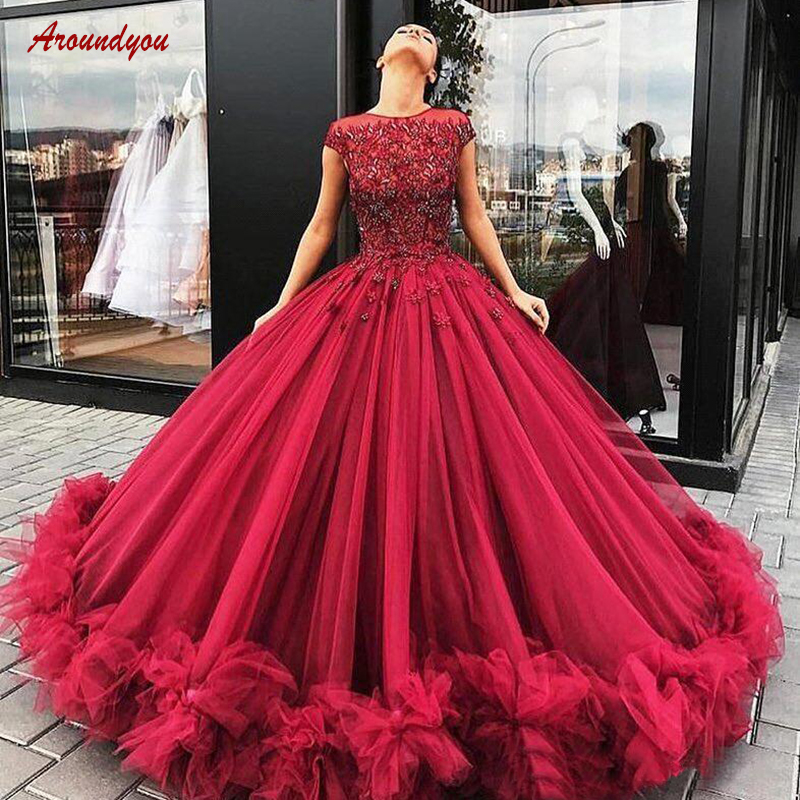 Burgundy Quinceanera Dresses Ball Gown Ruffle Crystal Lace Tulle Sweetheart Prom Debutante Sweet 16 Dress vestidos de 15 anos