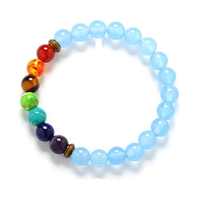 QCOOLJLY Yoga 7 Chakras Casual Natural Stone Beads Bracelet For Women 2017 Sparkling Crystal Handmade Bracelets Elegant Jewelry