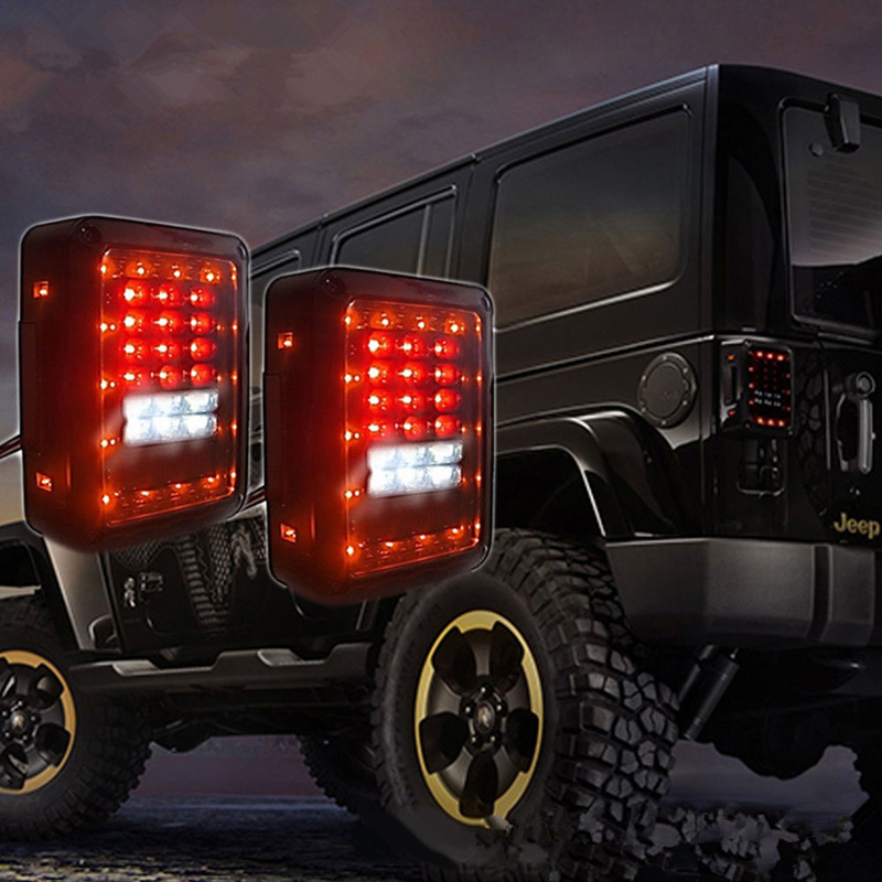 Clear LED Tail Lights LED Lamps Brake For 07 16 Jeep Wrangler JK Black LED Rear