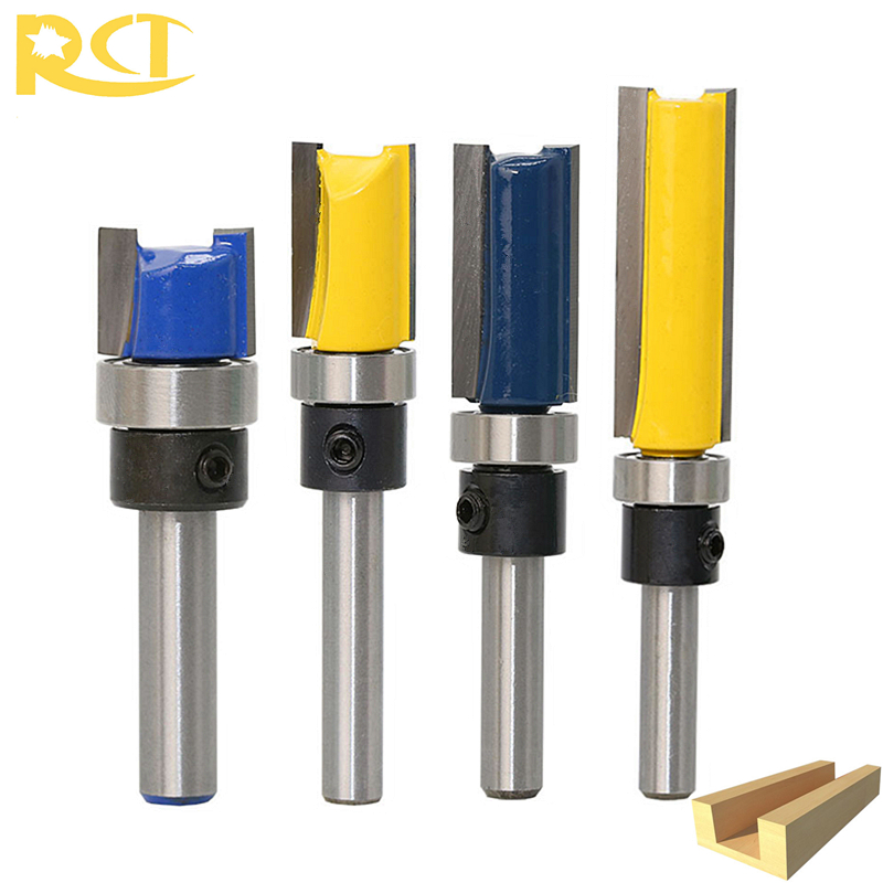 RCT 1/4'' Shank Bearing Flush Trim Router Bit Wood Cutter Straight Bit Milling Cutter For Carpenter Woodworking Tools 1pcs 1 8 trimming knife woodworking milling cutter tools wood bearing flush trim 1 4 1 2 25mm