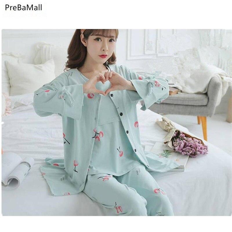 f13a3cb3cd46d Free Shipping Maternity Nursing Clothes Cotton Long Sleeve Sleepwear  Breastfeeding Pajamas 3pcs/Set for Pregnant Women B0519