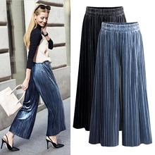 ФОТО  female loose streetwear -waist wide leg pants  ankle length trousers plus size 6XL women casual pleated velvet pants