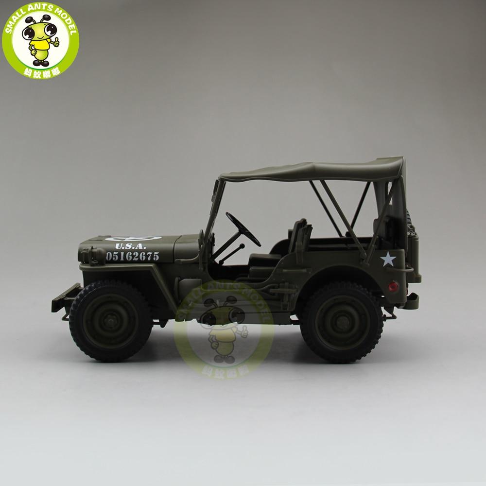 1/18 1941 JEEP يليز MB الجيش الأمريكي قوالب طراز السيارة اللعب Welly الجيش الأخضر-في سيارات لعبة ومجسمات معدنية من الألعاب والهوايات على  مجموعة 2