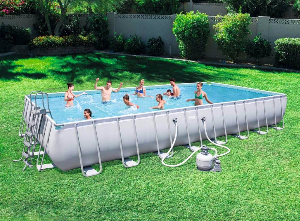 56623 Bestway 9.56x4.88x1.32m/31.3'x16'x52 Power Steel Rectangular Frame Pool Set/Above Ground Swimming Pool for Adults/Kids-W купить