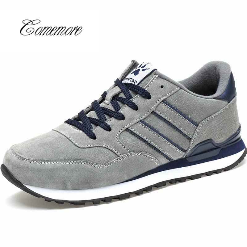 Comemore   Pu Leather Men'S Sneakers Male Shoes Adult For Running Shoe Sports Men Shoes Sport Krasovki Men 2019 Gray Walk