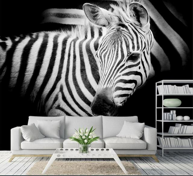 Zebra Wall Mural Photo Wallpapers 3D Custom Size Animal Printed Wallpaper  Living Room Bedroom Wall Papers