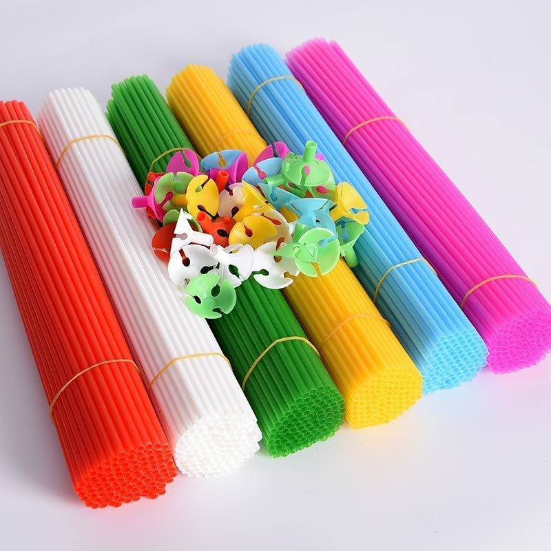 Latex Balloons Sticks Plastic Balloon Accessories Holder Multicolor Cup Wedding Decorations 40CM Long 50pcs/lot