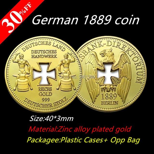 Free Shipping 10pcslot 1889 German Reichsbank Handwerks Gold Plated