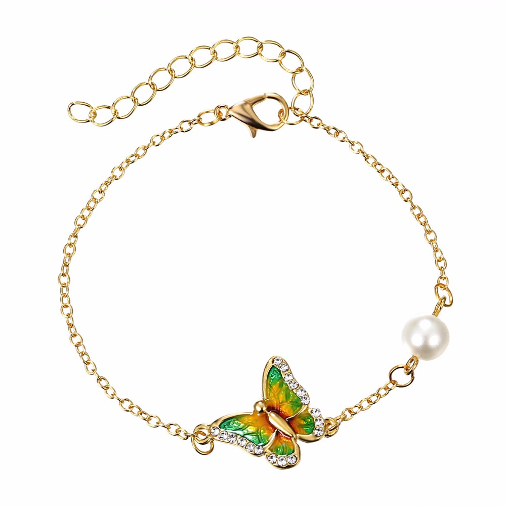 Metal Printing Bracelet Crystal Butterfly Bracelet Imitation Pearl Bracelet For Women Female Jewelry Ladies Bangle Accessories